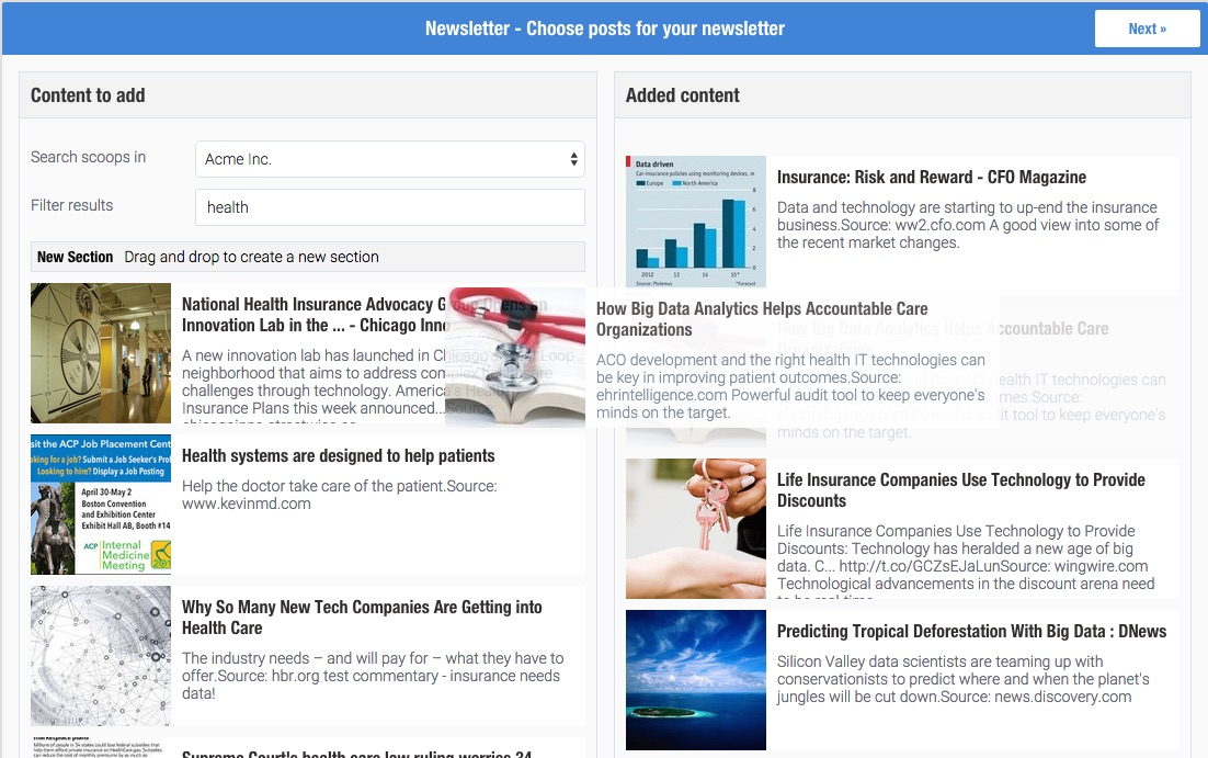 Scoopit content director - Newsletter - Drag and drop articles you want to the Newsletter
