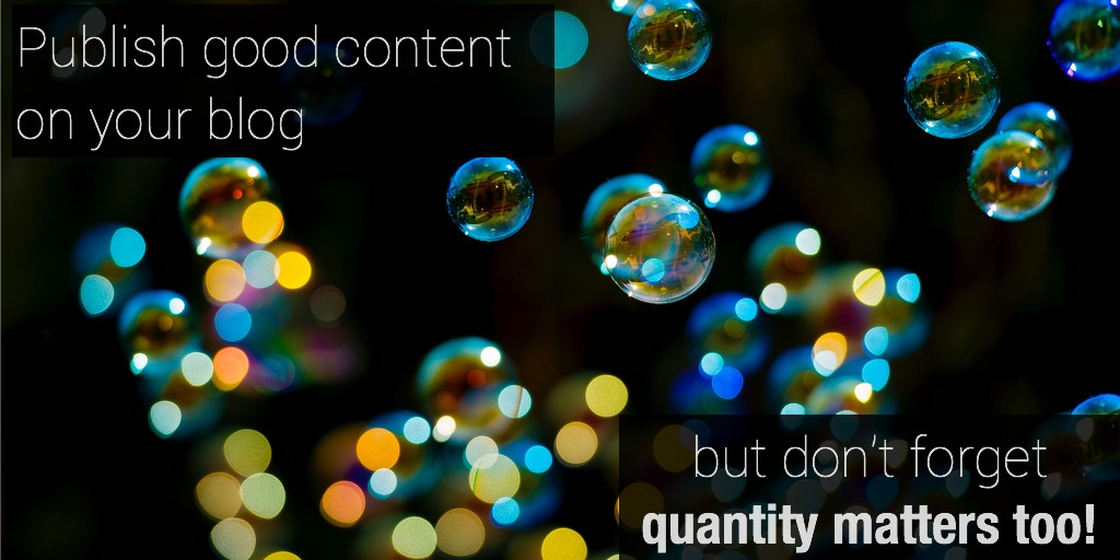 Publish good content on your blog - quantity matters too!
