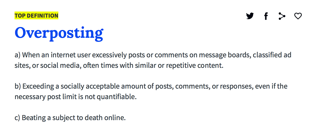 The Urban Dictionary's definition of overposting.