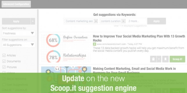 Content curation: discovering relevant content to publish through the new suggestion engine of Scoop.it