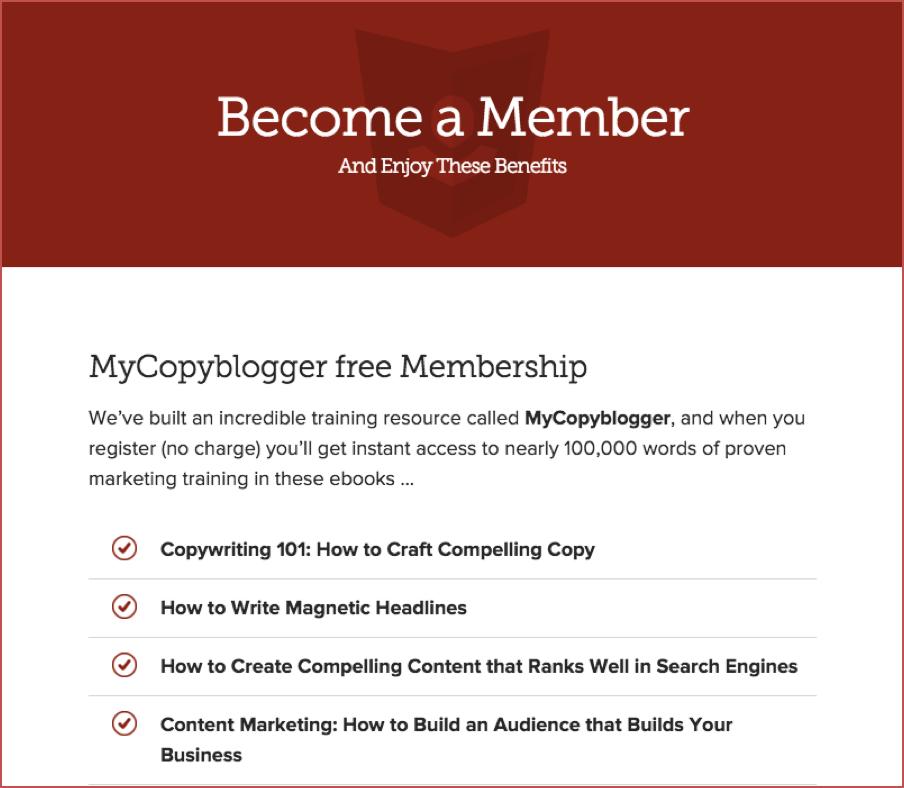 Copyblogger hub page