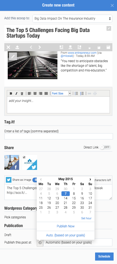 You can queue up posts to be published in the future with Scoop.It Content Director.