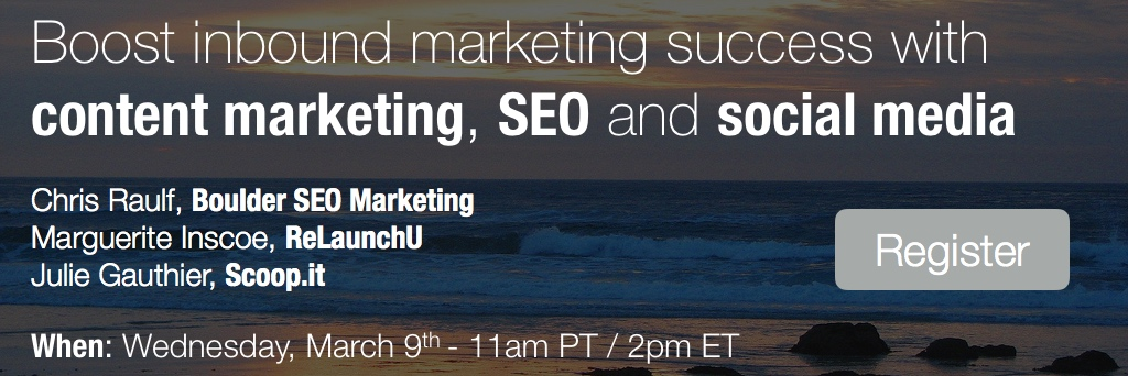 CTA webinar registration Boost inbound marketing with content marketing, SEO and social media