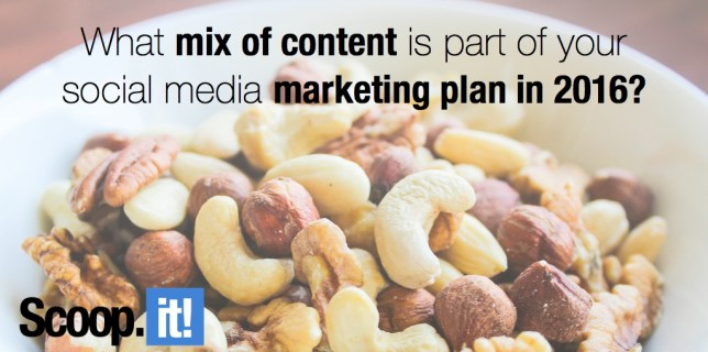 what mix of content is part of your social media marketing plan in 2016