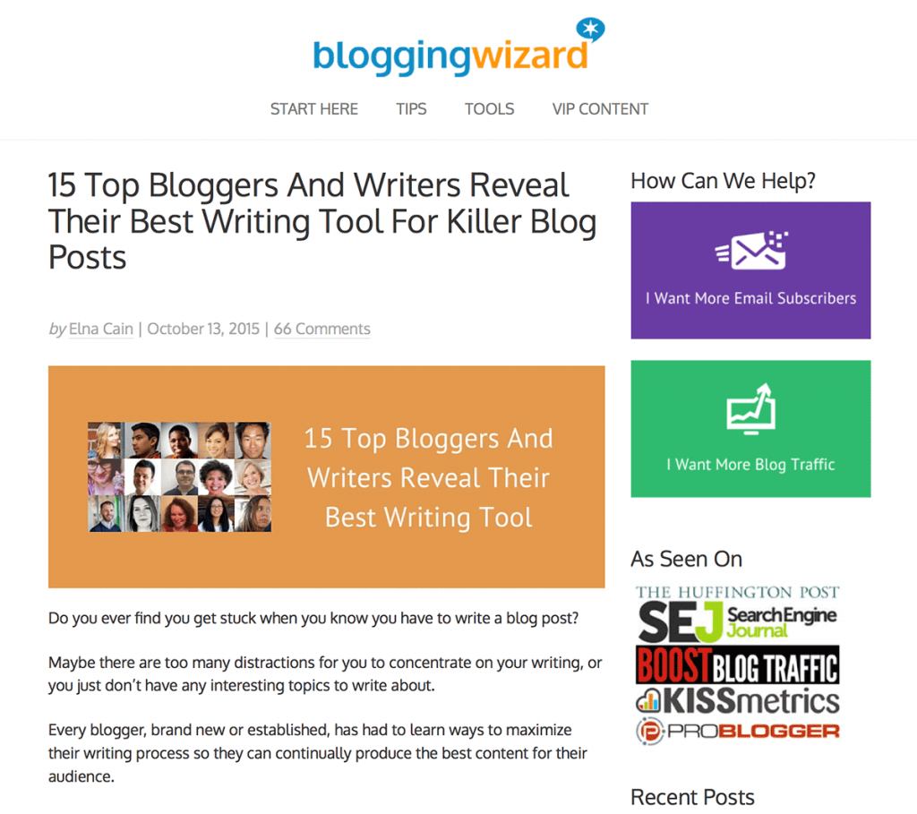 an influencer round up post from Blogging Wizard