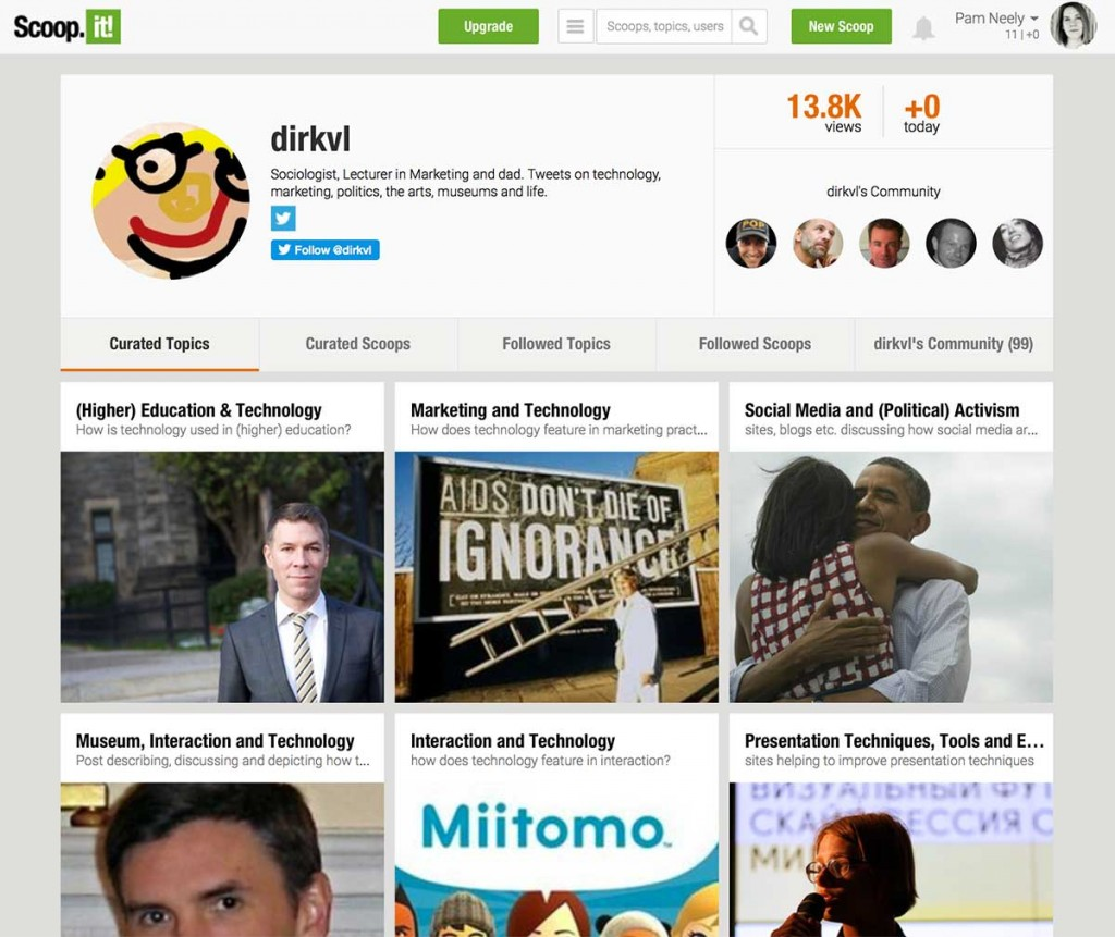 ScoopIt's topic pages work like both a content hub and a modified landing page