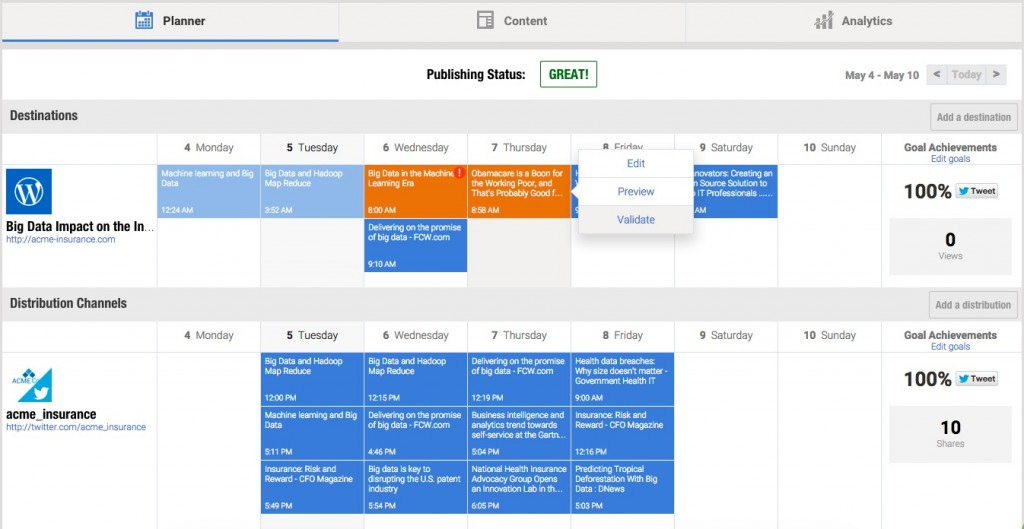 A view of Content Director's Smart Content Marketing Calendar