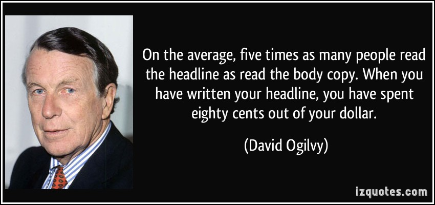 David Ogilvy quote about headlines