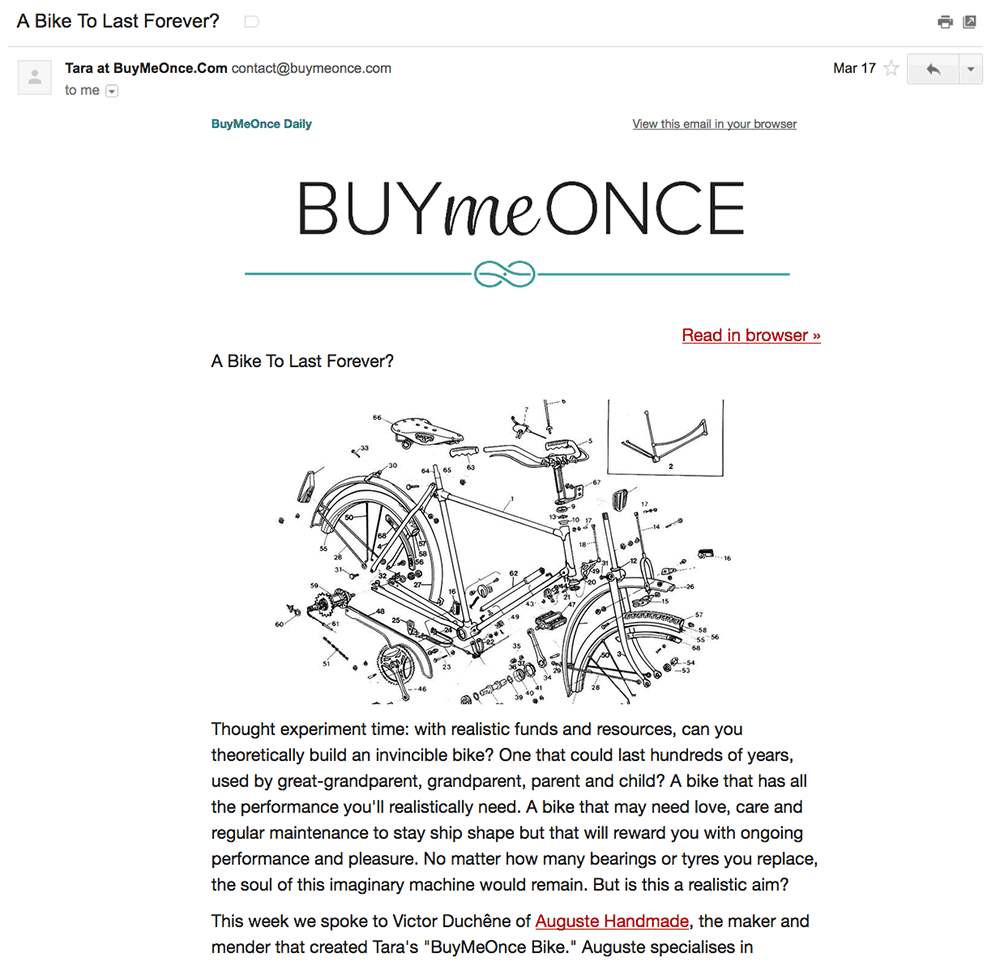 Buy e once is a terrific curated email newsletter