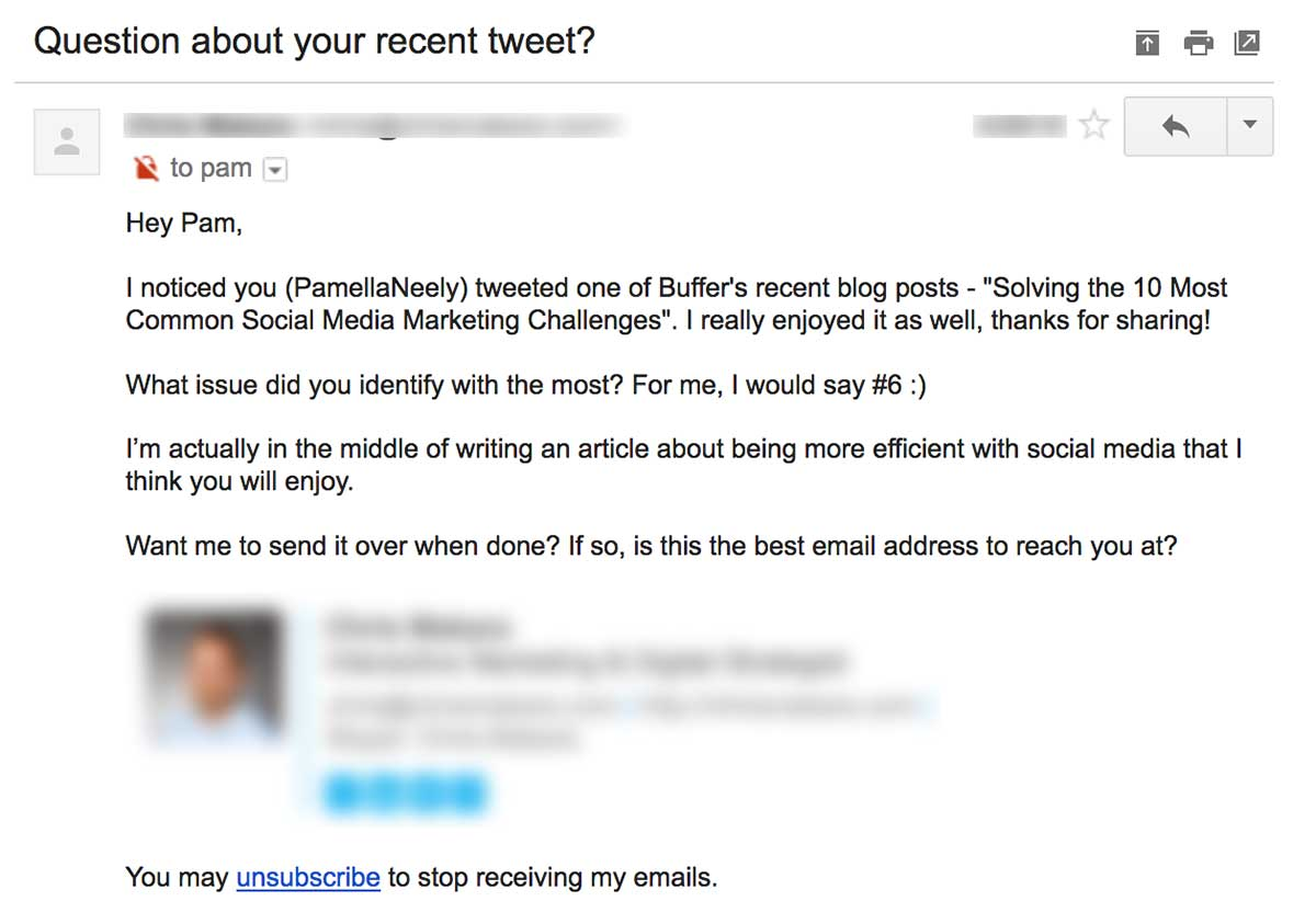 another example of an outreach email