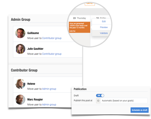 Good editorial calendar software will let you assign different roles, tasks and permissions to different users