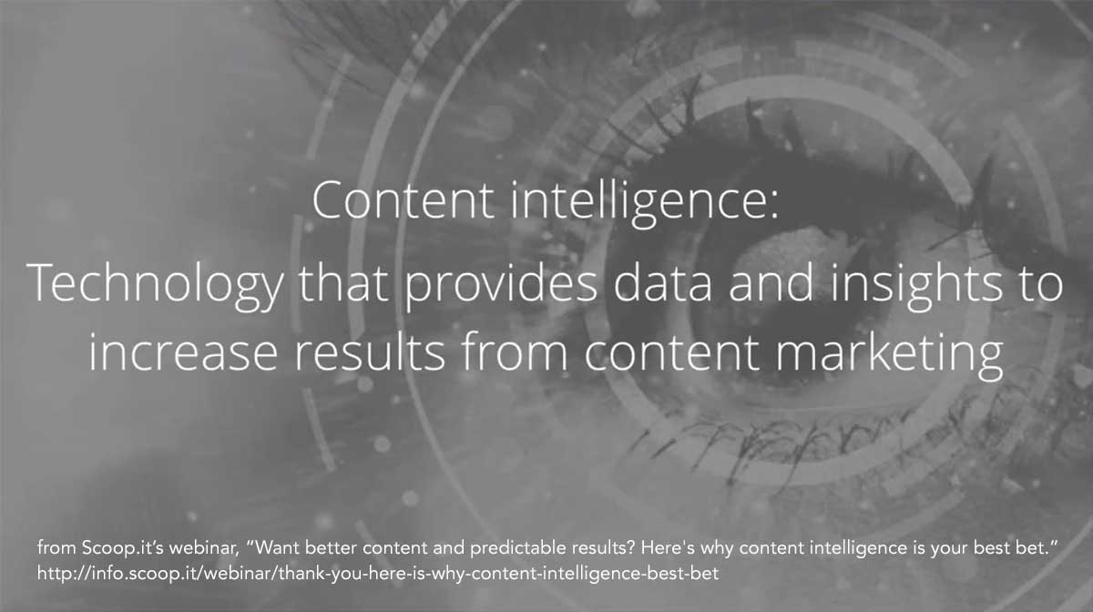 the definition of content intelligence: technology that provides data and insights to increase results from content marketing