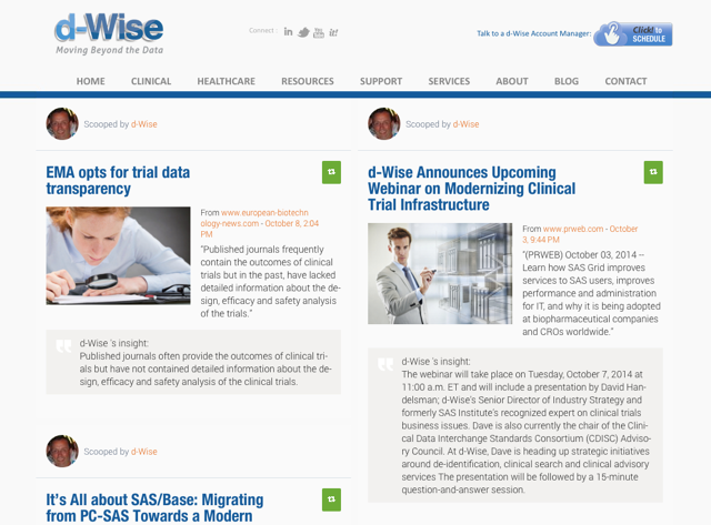 Content hub example from d-Wise