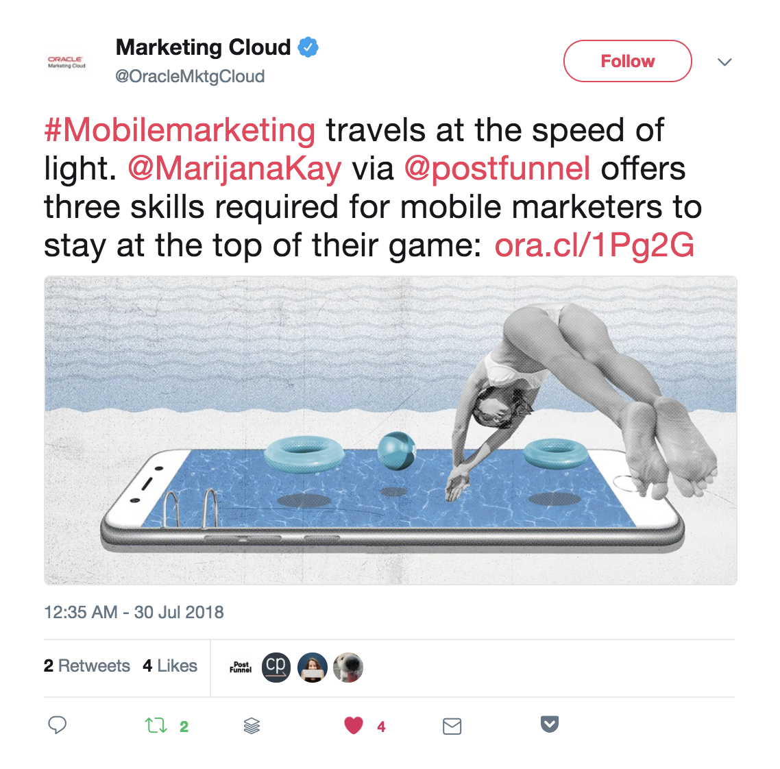 Oracle Marketing Cloud curating content on their Twitter feed