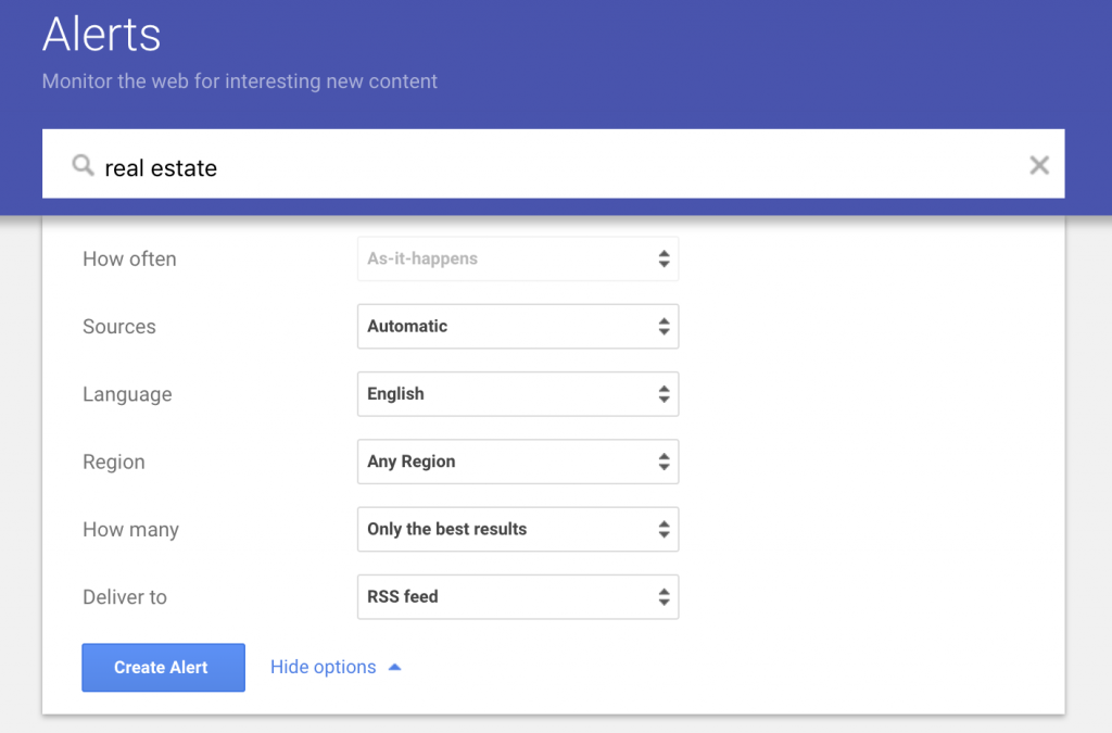 Google Alerts for content curation topics